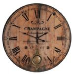 French Vintage Style Wooden Champagne Pendulum Wall Clock 59 cm